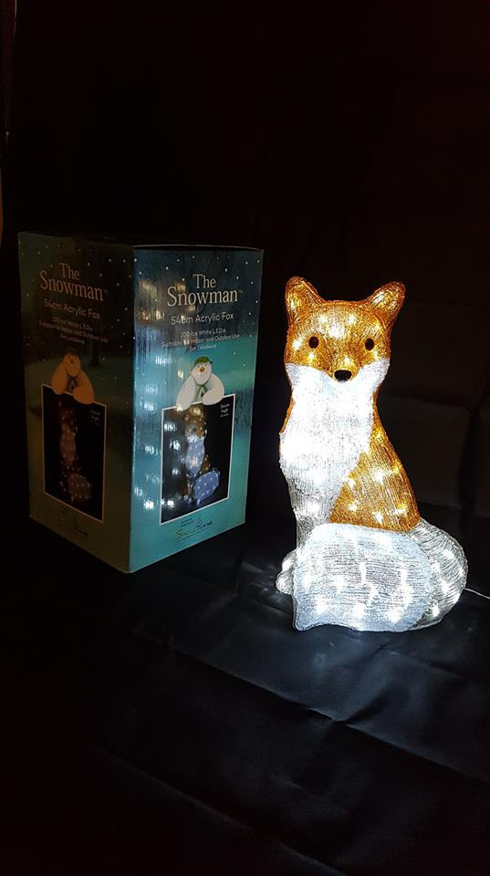 The Snowman 54cm Acrylic LED Fox 100 Ice White LEDs Outdoor Christmas Decoration